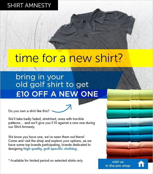 Shirt Amnesty - get £10 off a new shirt
