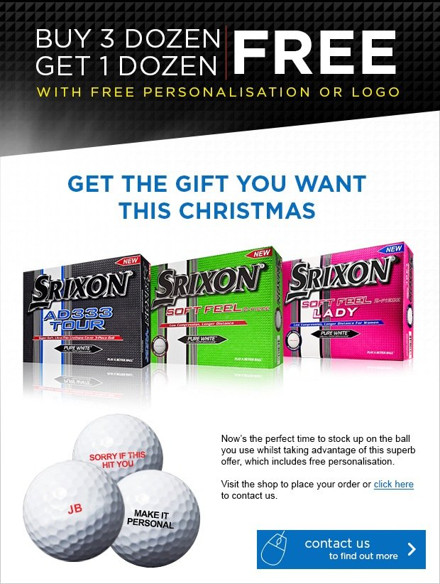 Srixon free logo or personalised ball this Xmas